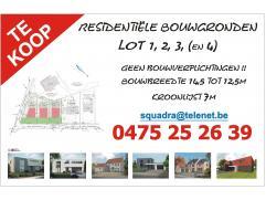 Residentiële bouwgronden, lot1,2 en 3 ! Geen bouwverplichting ! Kroonlijst op 7m, bouwbreedte van 14,5m tot 12,5m. Op wandelafstand van openbaar