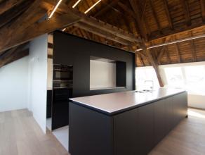 Dit appartement is het pronkstuk van het fantastische renovatieproject Patria. Hier heeft men de originele, blootliggende houten dakstructuur kunnen b