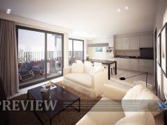 Mooi 2-slaapkamerappartement met ruim zonneterras, living met open keuken, ingerichte badkamer met bad of douche, berging en afzonderlijk toilet.