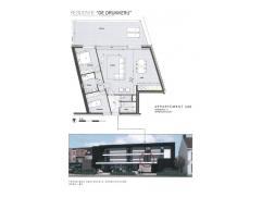 Nieuw te bouwen appartement omvattende inkomhal, leefruimte, open ingerichte keuken, berging met aansluiting wasmachine, nachthal, 2 slaapkamers, inge