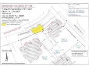 Bouwgrond voor HOB op 236 m², met een perceelsbreedte van 8,80 m, ingeplant in een straat met enkel plaatselijk verkeer. De maximale voorgevelbre
