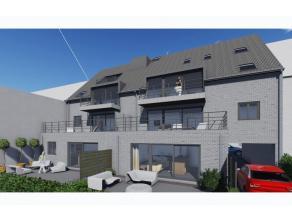 Gelijkvloers appartement met zonnig terras en tuin. Via de inkomhal met apart toilet komen we in de woonkamer 30,3m² met ingerichte keuken 11m&su