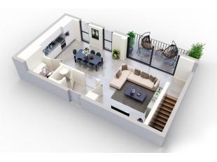 Cet appartement offre pas moins de 135m² et une terrasse de 10m².Division: hall, living, cuisine, débarras, toilette, 3 chambres &agr