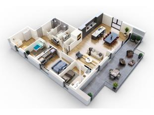 Cet appartement offre pas moins de 152m² et une terrasse de 40m².Division: hall, living, cuisine, débarras, toilette, 4 chambres &agr