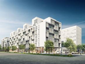 CITY DOX – BRUSSEL : Prachtig appartement van 115 m² op de eerste verdieping, met 3 slaapkamers en een terras van 26 m². Kwaliteitsvol afgew
