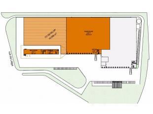 Opslagplaats van 10.516m² met 524m² kantoren te huur in de Zoning Industriel, nabij de E42. Een bedrijvencluster ontwikkeld in 3 fasen tusse