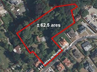 Dans un quartier recherché, beau terrain à bâtir de ± 63 ares. Ce terrain comprend une habitation à reconstruire ent