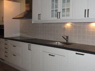 Gezellige woning, gelegen in doodlopend straatje, omvat GLVRS: inkomhal met ruime berging, nieuwe keuken met inductievuur, afwasmachine, oven, keukenb