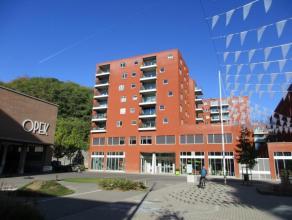 ruim (82 m²) appartement gelegen aan de Vaartkom in Leuven leefruimte met open ingerichte keuken, aangenaam zonnig terras, 1 slaapkamer, badkamer