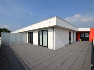 Prachtig recent penthouse appartement (85m²) met enorm zonneterras (71m²) en uitstekende verbinding met R4. Samenstelling: Inkom, vestiaire,