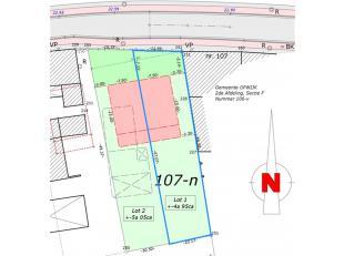 Bouwgrond gelegen aan de rand van Opwijk centrum van +/- 4a 95ca. Geschikt voor half-open bebouwing met een gevelbreedte 7,50m. Zuidgerichte tuin! Bou