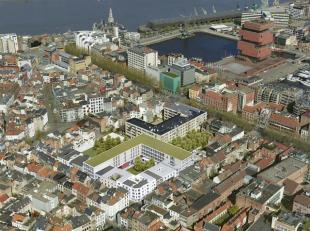Handelsruimte in Nieuwbouwproject Falconhoven, gelegen aan de Oude Leeuwenrui, een levendige buurt in de nabijheid van t Eilandje en het historische s