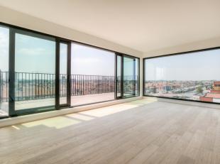 Dit ruime appartement, gelegen op de zesde verdieping, heeft een lichtrijke leefruimte met open ingerichte keuken. Vooraan is er een frontaal zicht op