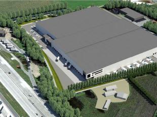 Nieuwbouw logistiek magazijn van 14.633 m² met kantoren vanaf 60 m² tot 680 m² te koop nabij de E17 te Kruishoutem. Het robuuste gebouw