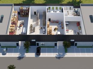 Gloednieuwe KMO-unit met een oppervlakte van 442 m² te koop nabij de R4 te Zelzate. De nieuwbouw loods is voorzien van een sectionale poort, een
