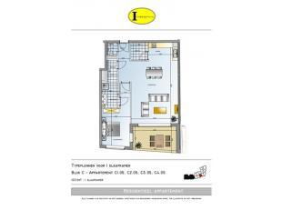 Prachtig appartement op de eerste verdieping met ruim terras, afgewerkt met mooie ingerichte keuken, zeer ruime leefruimte, badkamer met douche, 1 sla