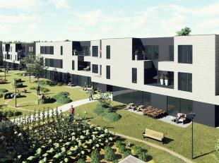 Prachtig gelegen nog te bouwen nieuwbouwappartement met 1 slpk met zicht op binnentuin, 2 gemeenschappelijke binnenruimtes, onderstaande parking, fiet
