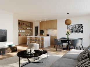 Appartement 1.1 in ons project Roosens is gelegen op de 1ste verdieping en bestaat uit: leefruimte met open keuken + aanpalend terras, nachthal, bergi