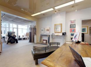 Deze lichtrijke en ruime handelsruimte met atelier (225m²) kan voor diverse doeleinden gebruikt worden. Vrije beroepers, creatieve ondernemers, e