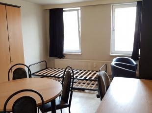 Moderne gemeubelde studio aan de achtergevel op de eerste verdieping. Omschrijving: inkomhal, leef/slaapruimte, keuken (koelkast, kookplaat, dampkap),