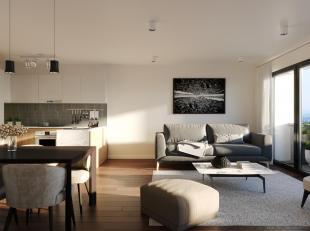 Nieuwbouw appartement gelegen op de markt van Temse. Het leefgedeelte geeft uit op het terras met uitzicht op het mooie plein. De living beschikt over