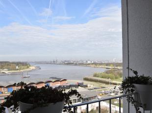 Uniek gelegen 1 slaapkamer app met panoramisch zicht op de Schelde, de kathedraal, MAS, het Steen...  Groot zuidelijk terras. Bulthaup keuken, eiken p