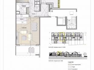 Appartement met 2 slaapkamers en terras, gelegen op de tweede verdieping<br /> Oppervlakte van het appartement : 96m²<br /> Oppervlakte van het t