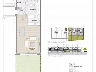 Gelijkvloers appartement met 2 slaapkamers en tuin.<br /> Oppervlakte van het appartement : 100m²<br /> Oppervlakte van de tuin : 58m².<br /