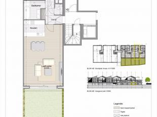 Gelijkvloers appartement met 2 slaapkamers en tuin.<br /> Oppervlakte van het appartement : 98m²<br /> Oppervlakte van de tuin : 50m².<br />
