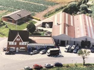 Mooi gelegen garagecomplex te koop, bestaande uit woning met 3 slpk, tuin, toonzaal, twee grote achterliggende loodsen, grote parking. Betalingsfacili