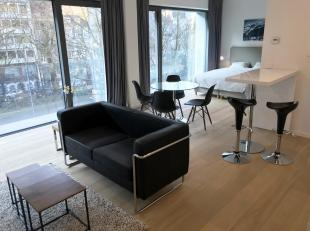 RESIDENCE LOUISE 430: Mooi ingerichte studio (geen aparte slaapkamer). Inkomhal, garderobe, doucheruimte, zeer lichte woonkamer met balkon, volledig i