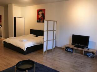 Een modern gemeubelde studio te huur op de 1ste verdieping aan de Plantin en Moretuslei 8, 2018 Antwerpen. De gerenoveerde studio voorziet veel lichti