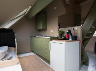 Gezellig en zeer goed gelegen appartement op het 4e verdiep. Woonkamer met open keuken. Slaapkamer op mezannine. Badkamer met ligbad, wastafel en toil