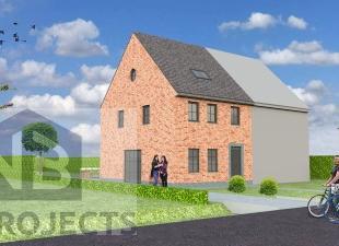 Nieuw te bouwen half open bebouwing te OkegemVoorbeeldwoning: indeling vrij te kiezen.Onze woningen worden afgewerkt met standaard duurzame kwalitatie