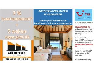 Investeringsvastgoed in Kaapverdië te koop 7 % huurrendement + 5 weken eigen gebruik per jaar ! (eerste 5 jaar)* Na 5 jaar : participatie in huur