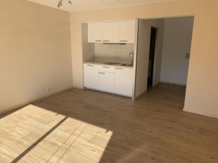 Volledig gerenoveerde flat/studio met terras gelegen te Heverlee. Eerste verdieping (met lift)(totaal +/-30m²): ruime inkomhal (3m²), leefru