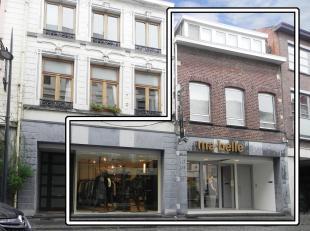 Bij het binnenrijden van Tongeren-centrum, op 100m van de Grote Markt gelegen volledig nieuw ingericht winkelpand met bovenliggend appartement (via af