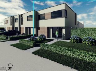 Nieuwbouwproject bestaande uit 4 woningen (2 halfopen en 2 gesloten woningen) te Gistel. Deze woningen omvatten een inkomhal met apart toilet, living