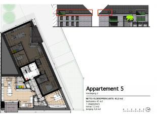 Appartement 5: Dit 1 slaapkamer appartement ligt op de tweede verdieping en heeft een oppervlakte van 88 m² met een terras van 8m². Via de l