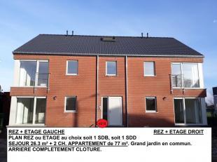 APPARTEMENT NEUF-nouvel immeuble-77 m² +cuis.eq.-2 ch.vue sur champs+jardin. JAMAIS loué. Cuisine équipée, chauffage central