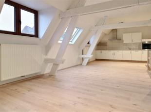 Magnifique appartement entièrement rénové en plein centre de Tournai comprenant : Hall d'entrée, toilette, beau living ave