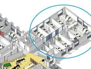 """Nieuwbouw kantoor (267m²) in het  Business Center """"Katelijnepoort"""". <br /> <br /> Bij de ontwikkeling van deze hypermoderne gebouwen, bij de inst"""