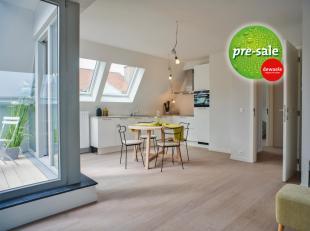 Ruim dakappartement (105m²) met 2 slaapkamers en terras, gelegen in het nieuwbouwproject Augustijnenhof te Brugge. Dit project komt op 700m van d