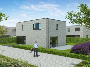 Deze vrijstaande villa in moderne architectuur wordt gebouwdop lot 15, een zuid gericht perceel van 380m². Deze slim ingedeeldehalfopen bebouwing