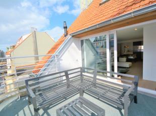 Centraal gelegen, volledig gerenoveerde duplex-appartement te Knokke met een ruim en zonnig terras. Indeling: Lichtrijke woonkamer uitgevend op een aa
