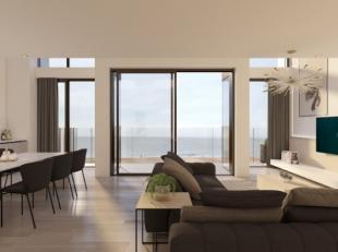 Ultieme Mezzanine (217m²) op de 7e verdiep met volledig frontaal zeezicht (8.5 m gevelbreedte). Dit Appartement beschikt over grote terrassen aan