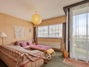 Ruime en lichtrijke studio voorzien van inkomhal, living met slaapruimte genietende van grote raampartijen en een gezellige aangrenzend balkon, keuken