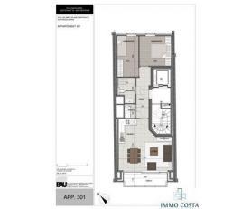 Nieuwbouwappartement met 2 slaapkamers op de 3e verdieping, ruim en zuidgericht terras. Badkamer met inloop douche. Keuken met bar element. Centraal g