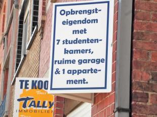 Een woning met 7 studentenkamers (met conformiteitsattest), garage voor 2 wagens en 1 appartement, gelegen nabij scholen (Doornikse wijk).<br /> Op he
