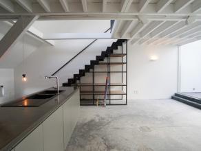 Dit exclusieve renovatieproject naar een ontwerp van architect Julie D'Aubioul, maakt deel uit van een groot historisch koetspoorthuis in de Gentse bi